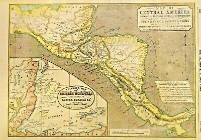 Map of CENTRAL AMERICA, Routes of Communication 1856 BRITISH HONDURAS ROATAN