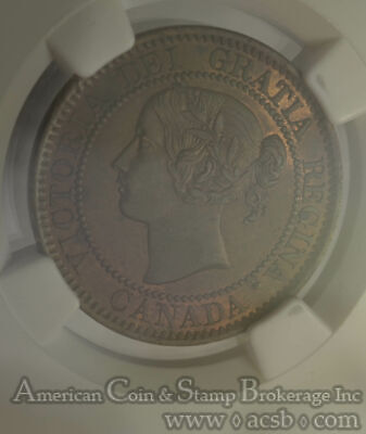 Canada 1c One Cent 1859 MS62 BN NGC Zoell #R2a Repunched 5 RARE DIE VARIETY
