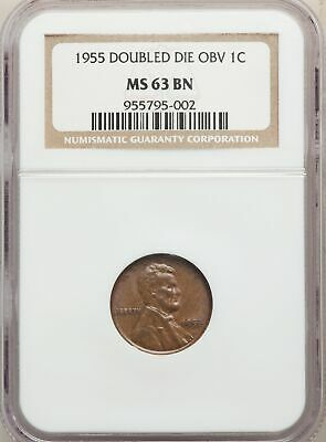 1955 US Lincoln Wheat Cent 1C - Doubled Die Obverse - NGC MS63 BN