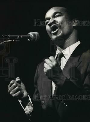 "1989 Press Photo William Abney recites Martin Luther King Jr.'s ""I have a Dream"""