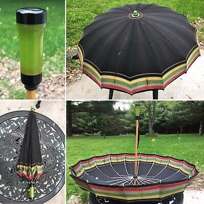 Bakelite Vintage Umbrella Green Apple 🍏 Handle Parasol  ☔️  Made In USA TESTED