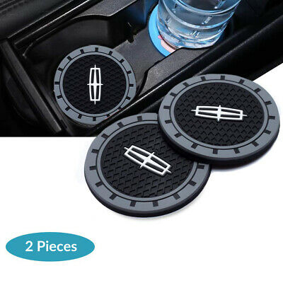 2x Silicone Car Logo Cup Holder Pad Mat Coaster For Lincoln Emblem Anti-Slip