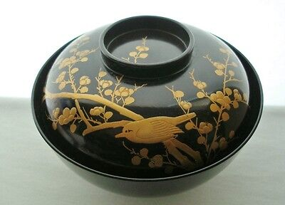 SUBLIME Japanese LACQUER Wood BOWL with Top FINELY Hand Painted TAISHO 1912-26