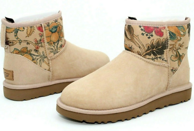 Ugg Australia Womens Classic Mini II Floral Beige Suede Boots