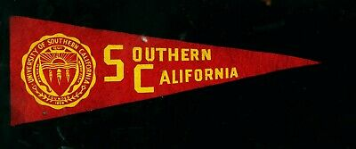 """Vintage 1950's? USC Southern California 9 1/2"""" soft felt college pennant"""
