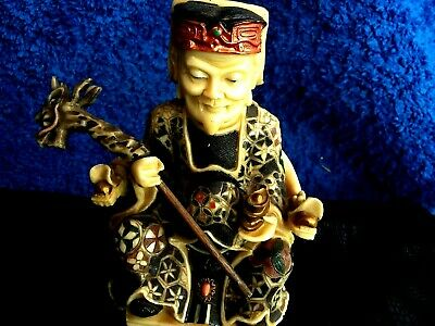 Soapstone Hand Crafted Chinese God Earth Statue Sitting Throne Figure Gift