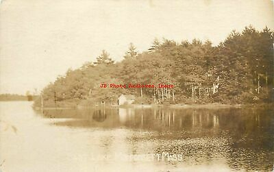 MA, Monponsett, Massachusetts, RPPC, East Lake, Shoreline, Cabin, Photo