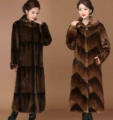 Old Age Ladies Parka Winter Thick Warm Mid Long Mink Fur Coat Outwear Slim Fit