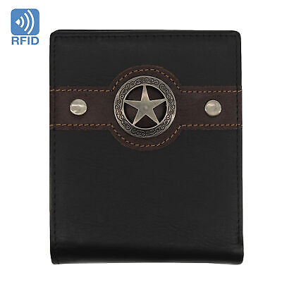Men's Western Wallet RFID Slim Wallet for Men Genuine Leather Bifold Wallet