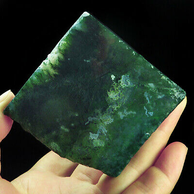 488.3Ct 100% Natural Green Dentritic Moss Agate Facet Rough Specimen YAD1515