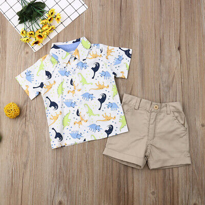 Infant Toddler Kids Baby Boy T-shirt Tops+Shorts Pants Outfit Set Summer Clothes