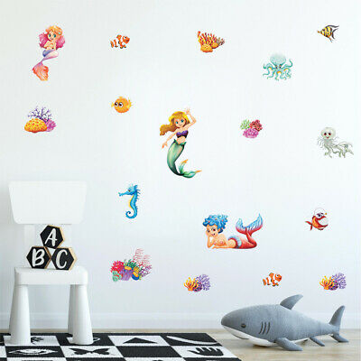 Mermaid Wall Decals Marine life Wall Sticker For Girls Room Removable Decoration
