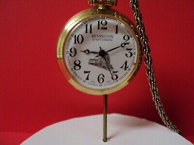 Remington Pocket Watch Train Scene This Is A Wind Up (Working)Chain/Is Smaller S