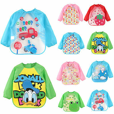 Baby Toddler Kids Cartoon Feeding Bibs Long Sleeve Plastic Feeding Smock Apron