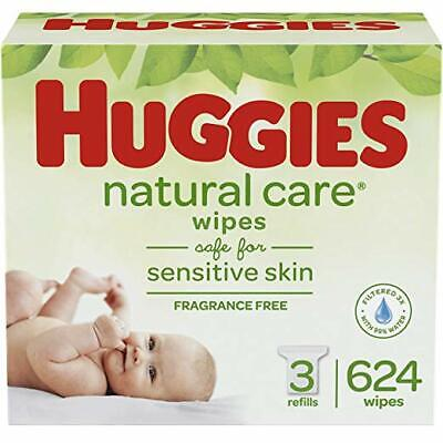 HUGGIES Natural Care Unscented Baby Wipes, Sensitive, 3 Refill Packs 624 Wipes