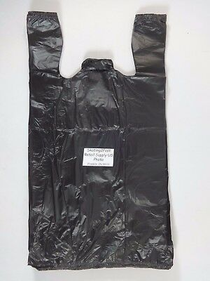 """1/6 GRACIAS Carry - Out Plastic T-Shirt Bags Black with Handles 11.5""""x 6.5""""x 22"""""""