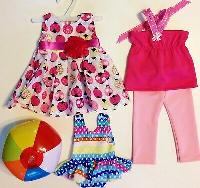 """Doll Clothes LOT Fits 18"""" American Girl Ladybug Dress Top Skirt Swimsuit #3A"""