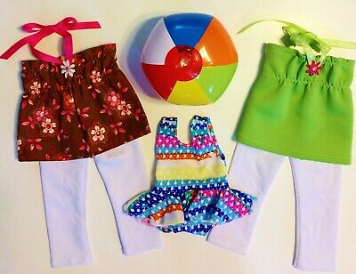 """Doll Clothes LOT Fits 18"""" American Girl Swimsuit Leggings Tops NEW #3B"""