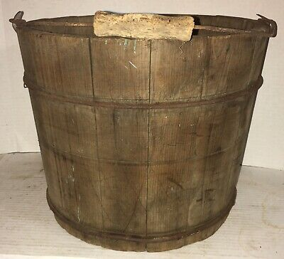ANTIQUE STAVED WOOD OLD BUCKET 2 BANDS Great Patina Dry Finish 19Th C