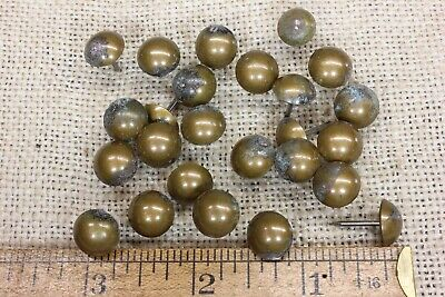 """25 old BRASS TACKS 7/16"""" Diameter upholstery nailsTARNISHED round heads vintage"""
