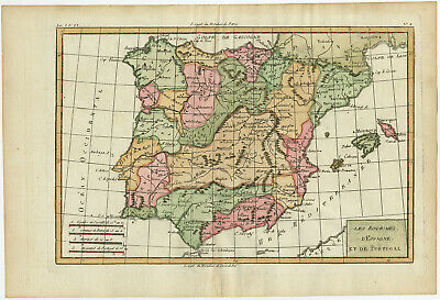 Antique Map-SPAIN-PORTUGAL-IBERIAN PENINSULA-Bonne-1780
