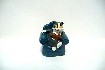 Thimble Handpainted Pewter Enesco '90 Gray & White Cat Reading A Book & Relaxing