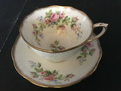 Bone China Cup & Saucer By Roslyn Moss Rose Pattern
