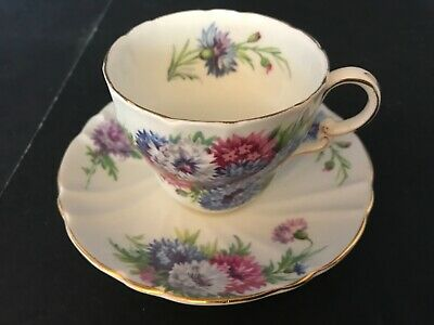 BONE CHINA CUP SAUCER BY STANLEY ENGLAND PINK WHITE blue FLOWERS GOLD TRIM
