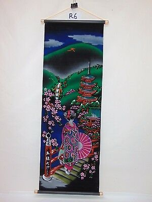 Vintage Velvet Hand Painted Tapestry Japan Made Mid-Century Geisha W/fountain