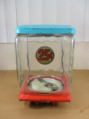 Vtg Northwestern 25¢ SQUARE EMBOSSED GLASS Globe Gumball Machine Top Lid Base