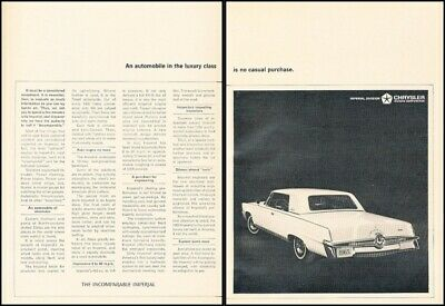 1965 Imperial Coupe 2-page Vintage Advertisement Print Art Car Ad J508