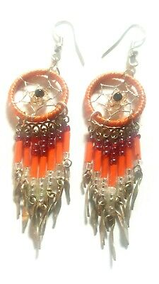Dream Catcher Earrings-Alpaca Silver-Beautiful Peach, Rose, & Clear Beads
