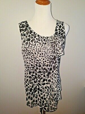 NWT Saks Fifth Avenue Leopard Print Black, Gray & White Women's Shirt Sheer Over