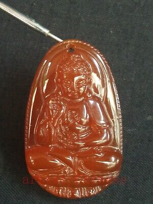 Collection Old Chinese Natural Agate Carving Buddha Statue Pendant Amulet Gift