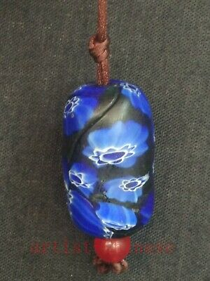 Rare Collection Old China Pretty Glaze Bead Pendant Necklace Charming Flowers