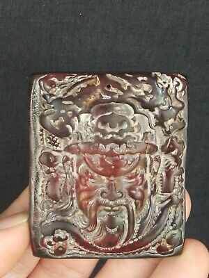 Collection Ancient Chinese Tibet Yak Horn Hand Carved  God of Wealth Pendant