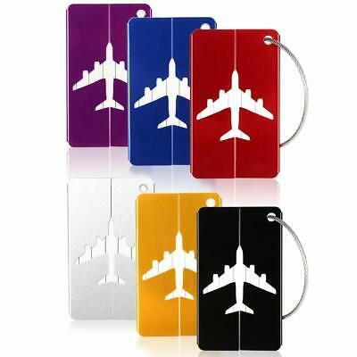 6PCS Aluminium Luggage Tag Suitcase Baggage Travel Name Address ID Tag Label