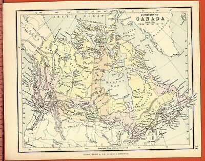 Antique MAP ~ DOMINION OF CANADA Canadian ~ GEORGE PHILIP c1880 Vintage