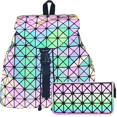 HotOne Geometric Luminous Backpack and Holographic Wallet Daypack & Purses No.1