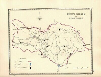 Antique Map ~ COUNTY ELECTION for NORTH RIDING OF YORKSHIRE ~ 1835