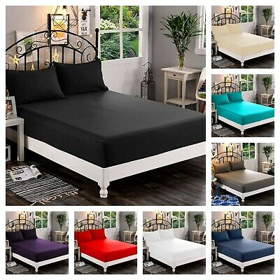 """Extra Deep Fitted Sheet 16""""/40CM Poly Cotton Bed Sheets Single Double King Size"""