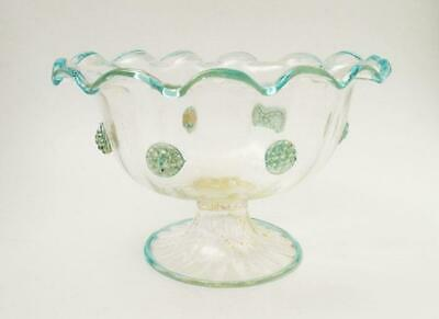 Antique Salviati Venetian Italian Murano Glass Footed Bowl Aventurine Prunts