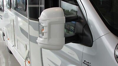 Motorhome Mirror Protectors Long Arm White New Style Fits Fiat Ducato 2006 On