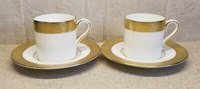 Wedgwood Bone China Ascot Pair Demitasse Cup & Saucer Sets With 2 Extra Saucers