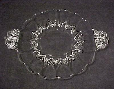 New Martinsville Depression Glass Janice 7 in Tab Handled Plate Dalzell Viking