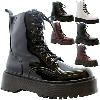 Womens Ankle Chunky Platform Shoes Ladies Lace Up Zip Goth Punk Shiny Boots Size