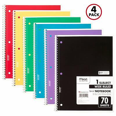 MEAD FIVE STAR Spiral Notebook, 3 Subject, Wide Ruled Paper
