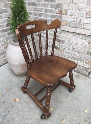Tell City Chair Company Solid Hard Rock Maple Rumford ROLLING DESK CHAIR