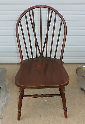 Antique Windsor Solid Saddle Seat Bowback Chair Extra Ball V Brace Back Vintage