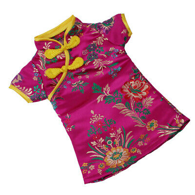 Doll Floral Traditional Chinese Cheongsam Dress DIY Doll Dressed Up Rose Red